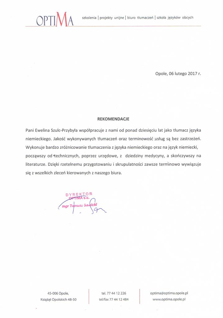 Biuro Tłumaczeń OPTIMA w Opolu