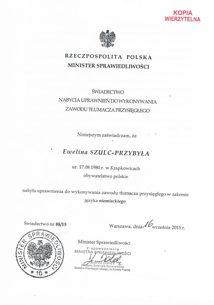 Tłumacz Przysięgły Języka Niemieckiego Ewelina Szulc-Przybyła